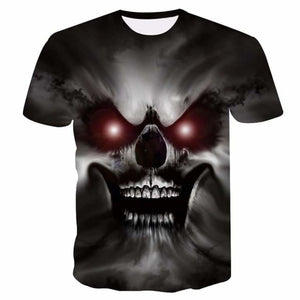2018 New Mens Summer Skull Poker Print Men Short Sleeve T-shirt 3D T Shirt Casual Breathable T-shirt - MBMCITY
