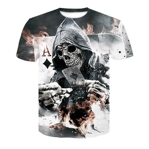 2018 New Mens Summer Skull Poker Print Men Short Sleeve T-shirt 3D T Shirt Casual Breathable T-shirt