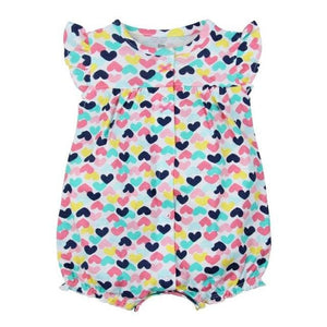 2018 NEW stlye Summer baby boys rompers kids Short sleeve clothing Baby girls cotton Jumpsuit heart / 6M