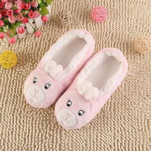 2018 New Warm Flats Soft Sole Women Indoor Floor Slippers/Shoes Animal Shape White Gray Cows Pink - MBMCITY