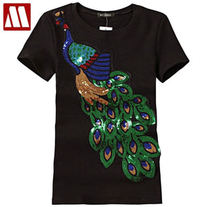 2018 Noble Elegant T shirt Women Peacock Sequined Sequins T-shirt Womens Fashion New Top Tee Shirt.