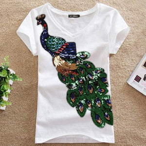 2018 Noble Elegant T Shirt Women Peacock Sequined Sequins T-Shirt Womens Fashion New Top Tee Shirt O Neck White / S