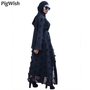 2018 Open Abaya Women Muslim Fashion Dresses Ladies Long Dress Robe Islamic Clothes Woman Kafter