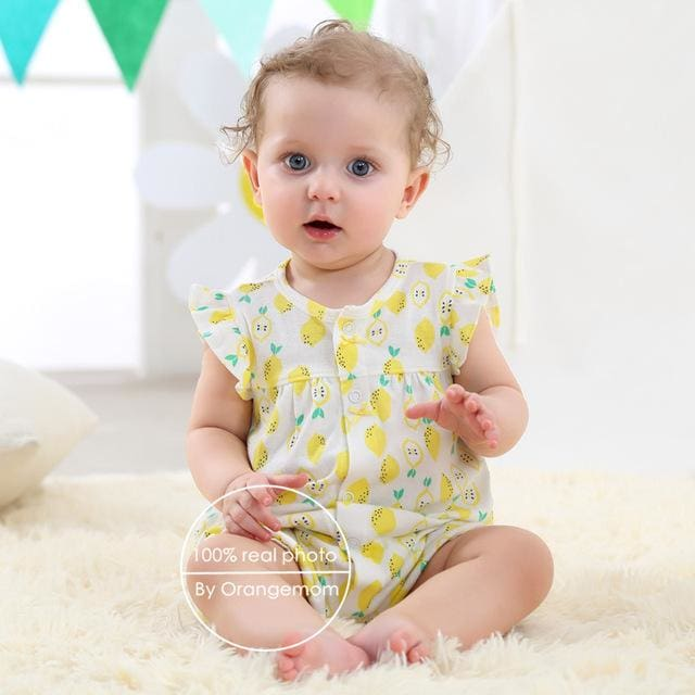 2018 orangemom baby girl clothes one-pieces jumpsuits baby clothing cotton short romper infant girl yellow / 6M