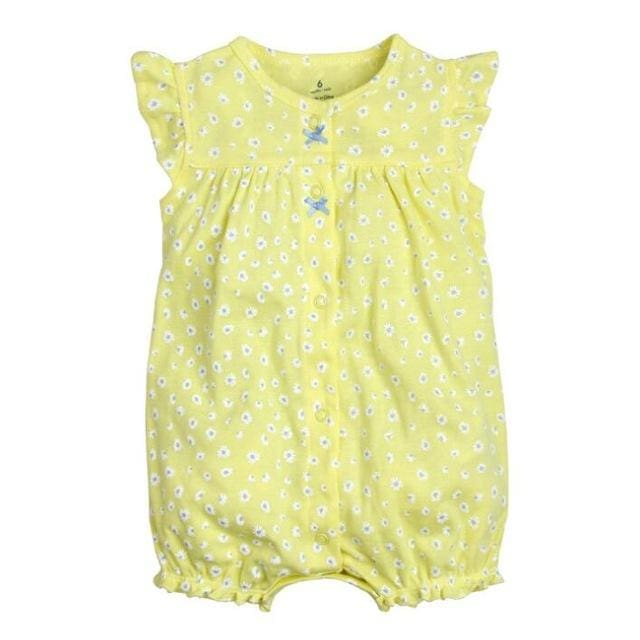 2018 orangemom baby girl clothes one-pieces jumpsuits baby clothing cotton short romper infant girl yellow dot / 9M