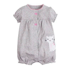 2018 Orangemom Baby Girl Clothes One-Pieces Jumpsuits Baby Clothing Cotton Short Romper Infant Girl Grey Cat / 6M