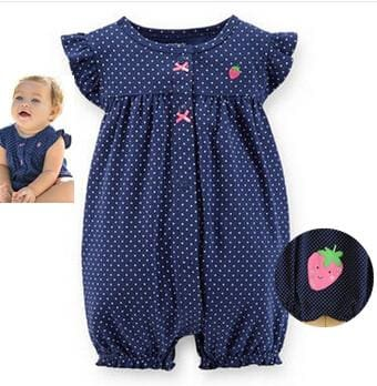2018 orangemom baby girl clothes one-pieces jumpsuits baby clothing cotton short romper infant girl navy / 6M
