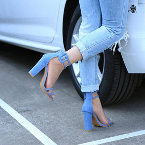 2018 Shoes Women Summer Shoes T-Stage Fashion Dancing High Heel Sandals Sexy Stiletto Party Wedding 2258W Sky Blue / 4