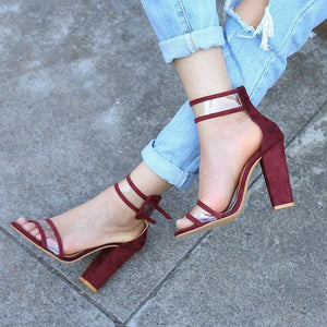 2018 shoes Women Summer Shoes T-stage Fashion Dancing High Heel Sandals Sexy Stiletto Party Wedding 2258W wine red / 4