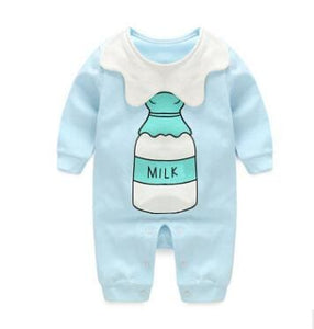 2018 Spring Autumn Long Sleeved Cotton Romper Baby Clothes Childrens Clothing Cartoon Penguin Baby Lan Nai / 3M