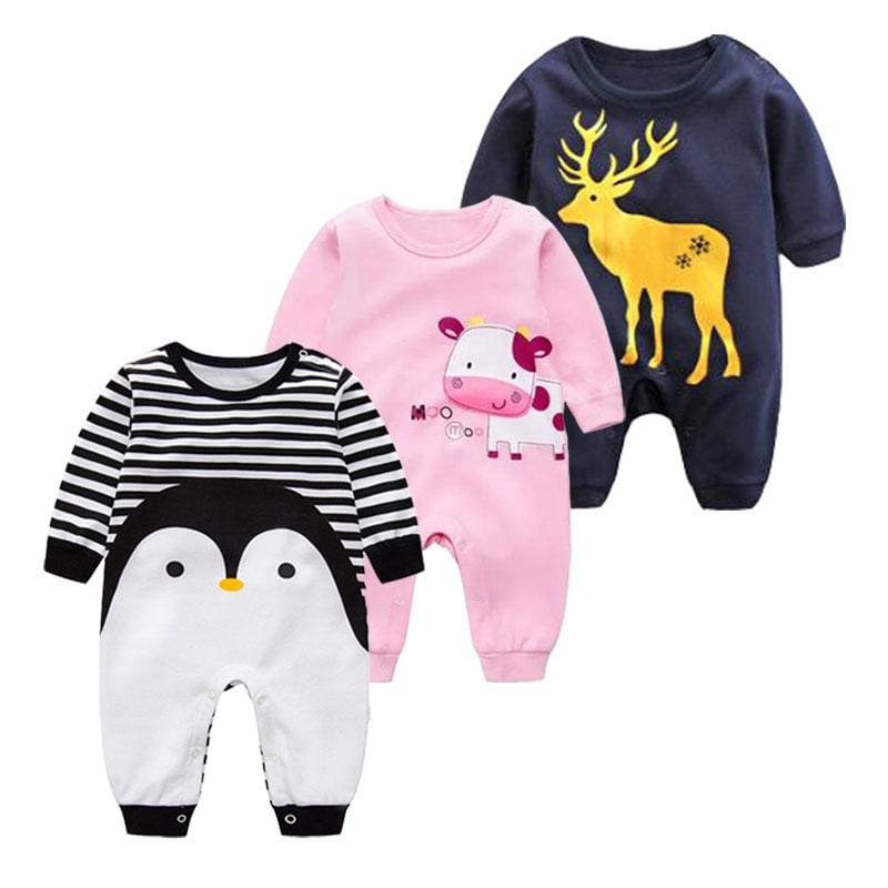 2018 Spring Autumn Long Sleeved Cotton Romper Baby Clothes Childrens Clothing Cartoon Penguin Baby