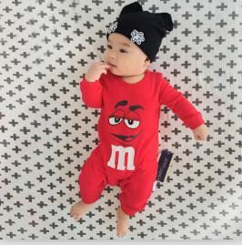2018 Spring Autumn Long Sleeved Cotton Romper Baby Clothes Childrens Clothing Cartoon Penguin Baby Red / 3M