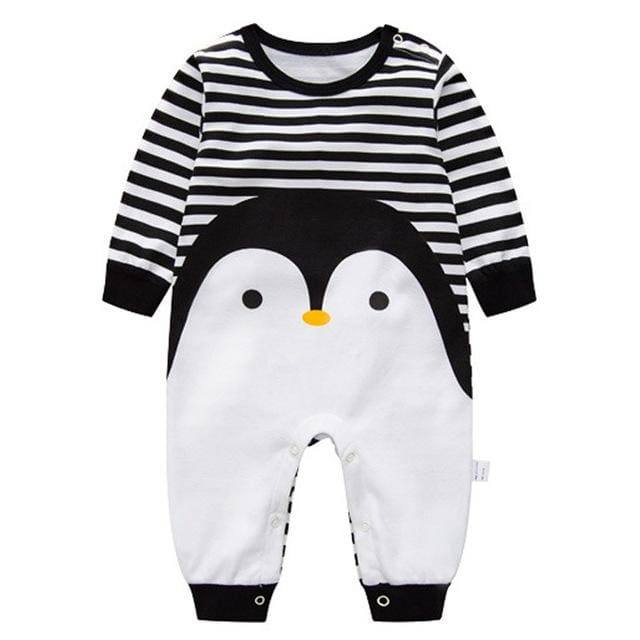 2018 Spring Autumn Long Sleeved Cotton Romper Baby Clothes Childrens Clothing Cartoon Penguin Baby Qie / 3M