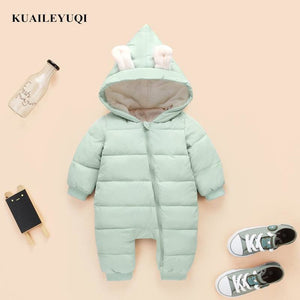 2018 spring autumn Warm baby girl boy Snowsuit down cotton baby Rompers hoodies Newborn overalls