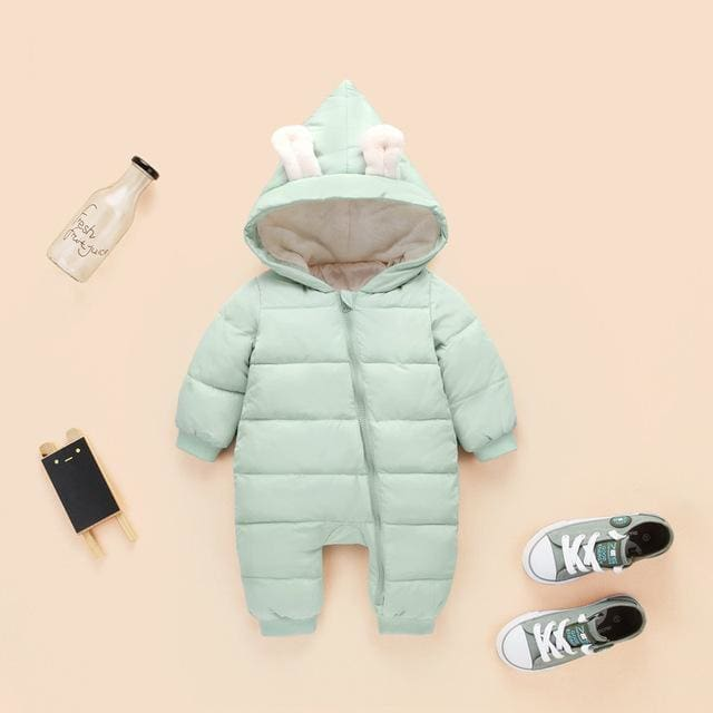 2018 spring autumn Warm baby girl boy Snowsuit down cotton baby Rompers hoodies Newborn overalls pale green / 3M