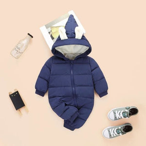 2018 spring autumn Warm baby girl boy Snowsuit down cotton baby Rompers hoodies Newborn overalls Navy blue / 3M