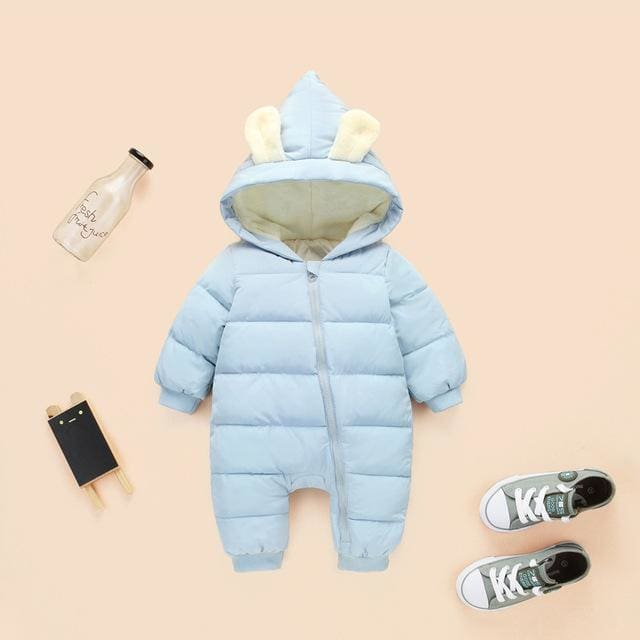 2018 spring autumn Warm baby girl boy Snowsuit down cotton baby Rompers hoodies Newborn overalls Blue lake / 3M