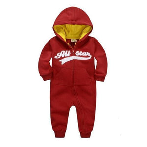 2018 Spring Baby Rompers Newborn Cotton Tracksuit Clothing Baby Long Sleeve Hoodies Infant Boys Wine Red / 6M