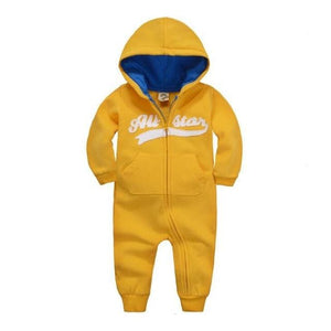 2018 Spring Baby Rompers Newborn Cotton Tracksuit Clothing Baby Long Sleeve Hoodies Infant Boys Yellow / 6M
