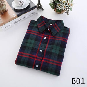 2018 Spring New Brand Women Blouses Long Sleeve Cotton Flannel Plaid Shirts Women Casual Plus Size B01 / L
