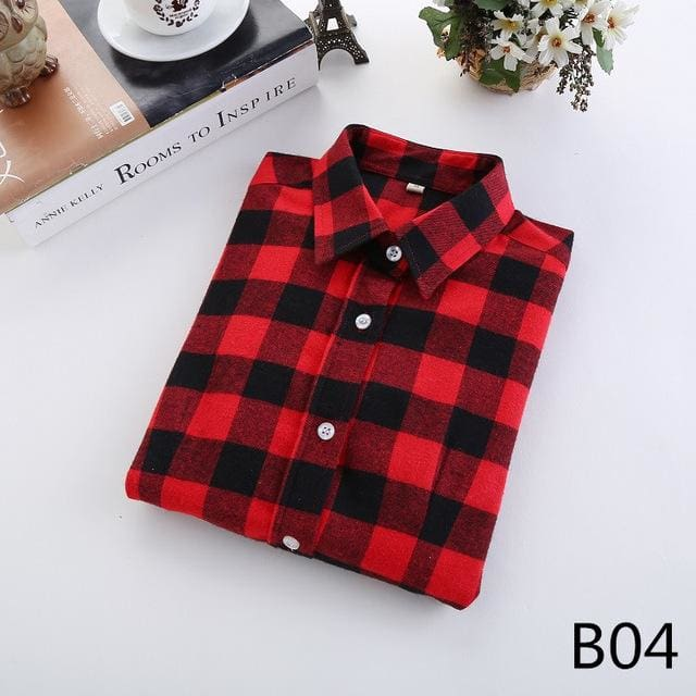 2018 Spring New Brand Women Blouses Long Sleeve Cotton Flannel Plaid Shirts Women Casual Plus Size B04 / L