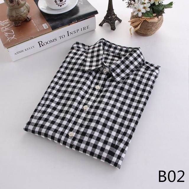 2018 Spring New Brand Women Blouses Long Sleeve Cotton Flannel Plaid Shirts Women Casual Plus Size B02 / L