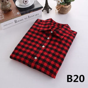 2018 Spring New Brand Women Blouses Long Sleeve Cotton Flannel Plaid Shirts Women Casual Plus Size B20 / L