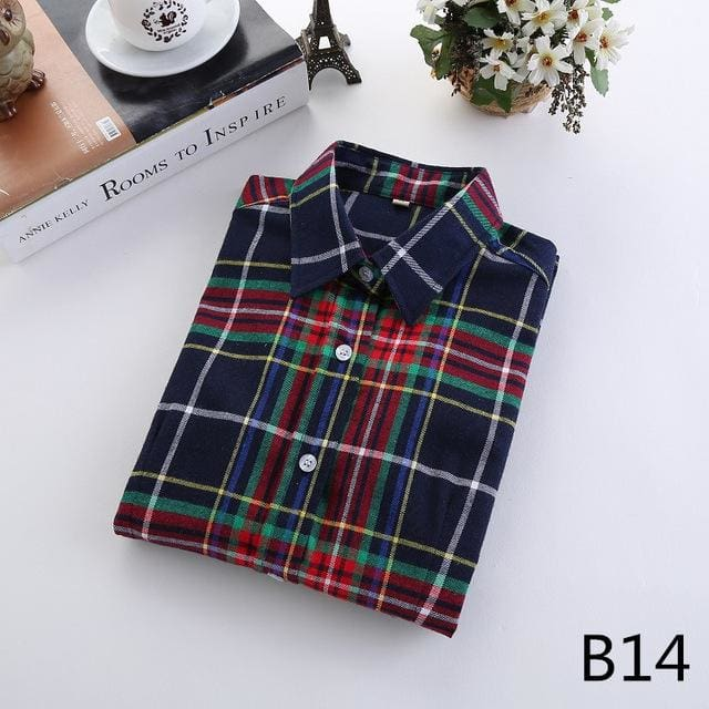 2018 Spring New Brand Women Blouses Long Sleeve Cotton Flannel Plaid Shirts Women Casual Plus Size B14 / Xl