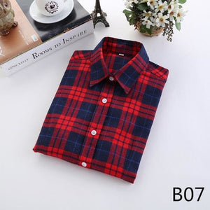 2018 Spring New Brand Women Blouses Long Sleeve Cotton Flannel Plaid Shirts Women Casual Plus Size B07 / L