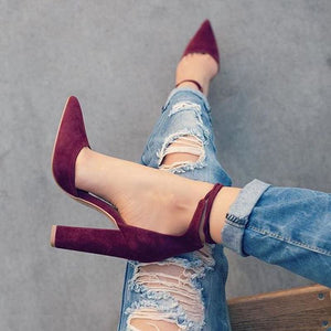 2018 spring new women shoes basic style retro fashion high heels pointed toe office & career shallow