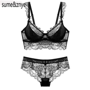 2018 summer female lingerie sexy lace bras Red gather push up women underwear bra set girl