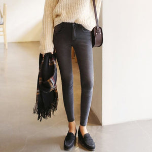 2018 thin waist jeans nine Korean female grey legging feet pencil pants 9 black women jeans.