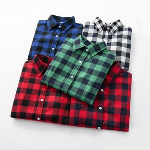 7968585503 2018 Women Blouses Brand New Excellent Quality Flannel Red Plaid Shirt  Women Cotton Casual Long ...