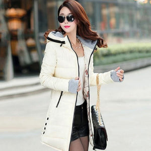 2018 Women Winter Hooded Warm Coat Slim Plus Size Candy Color Cotton Padded Basic Jacket Female Black / L