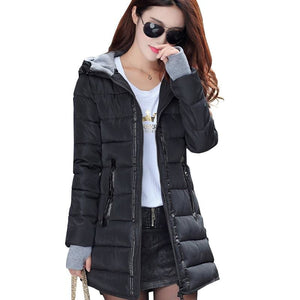 2018 Women Winter Hooded Warm Coat Slim Plus Size Candy Color Cotton Padded Basic Jacket Female