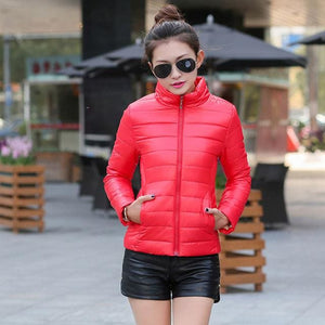 2018 Women Winter Jacket Ultra Light Candy Color Spring Coat Female Short Parka Cotton Outerwear Red / M
