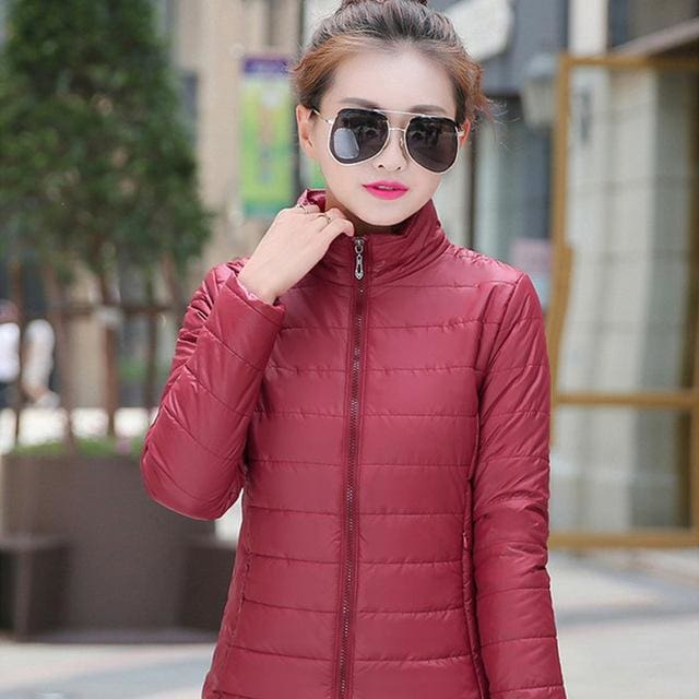 2018 Women Winter Jacket Ultra Light Candy Color Spring Coat Female Short Parka Cotton Outerwear Dark Red / M