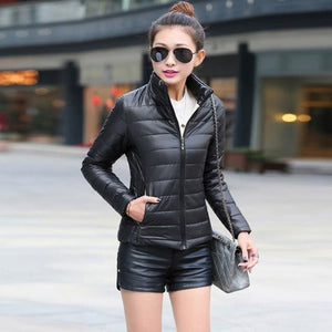2018 women winter jacket ultra light candy color spring coat female short parka cotton outerwear Black / M