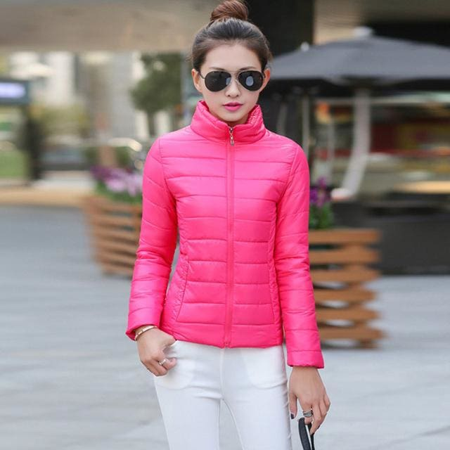 2018 Women Winter Jacket Ultra Light Candy Color Spring Coat Female Short Parka Cotton Outerwear Rose / M