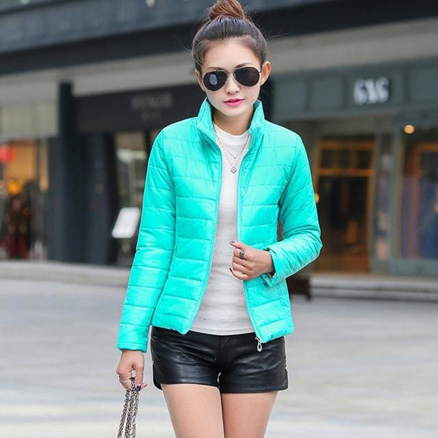 2018 Women Winter Jacket Ultra Light Candy Color Spring Coat Female Short Parka Cotton Outerwear Blue / M