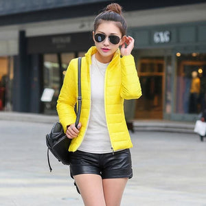 2018 Women Winter Jacket Ultra Light Candy Color Spring Coat Female Short Parka Cotton Outerwear Yellow / M