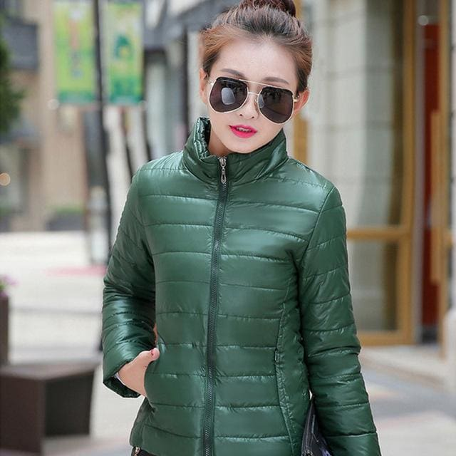 2018 Women Winter Jacket Ultra Light Candy Color Spring Coat Female Short Parka Cotton Outerwear Dark Green / M