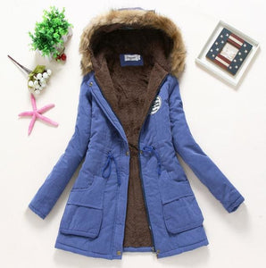 2018 Women Winter Thicken Warm Coat Female Autumn Hooded Cotton Fur Plus Size Basic Jacket Outerwear Royal Blue / L