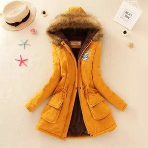 2018 Women Winter Thicken Warm Coat Female Autumn Hooded Cotton Fur Plus Size Basic Jacket Outerwear Ginger / L