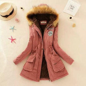 2018 Women Winter Thicken Warm Coat Female Autumn Hooded Cotton Fur Plus Size Basic Jacket Outerwear Dark Pink / L