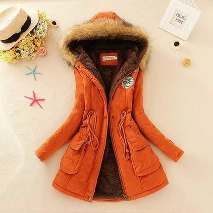 2018 Women Winter Thicken Warm Coat Female Autumn Hooded Cotton Fur Plus Size Basic Jacket Outerwear Orange / L