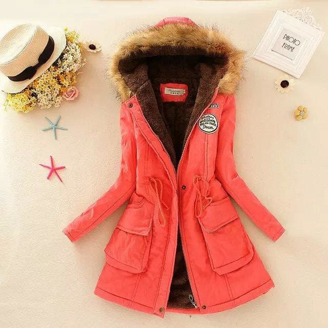 2018 Women Winter Thicken Warm Coat Female Autumn Hooded Cotton Fur Plus Size Basic Jacket Outerwear Watermelon Red / M