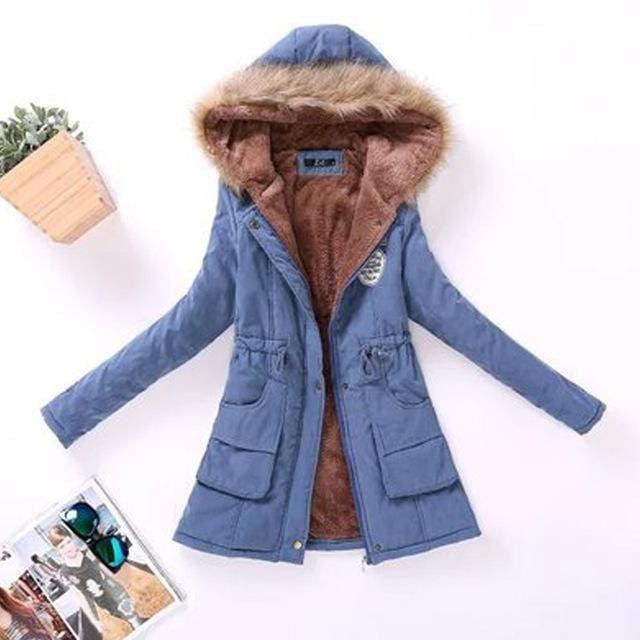 2018 Women Winter Thicken Warm Coat Female Autumn Hooded Cotton Fur Plus Size Basic Jacket Outerwear Jean Blue / L