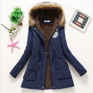 2018 Women Winter Thicken Warm Coat Female Autumn Hooded Cotton Fur Plus Size Basic Jacket Outerwear Navy Blue / L