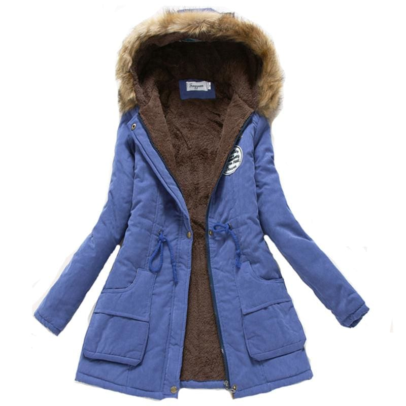 2018 Women Winter Thicken Warm Coat Female Autumn Hooded Cotton Fur Plus Size Basic Jacket Outerwear